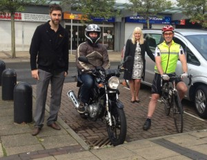 Bradford Leeds start L-R Ewhen, West Yorks Project Officer Road Safety (train), Jason, Earnshaws (Honley 125cc), Shirley, RTWD Project Manager, Mark, RSO Leeds CC (cyclist)