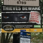 Close up of 'Thieves Beware' sign in St James's Square London